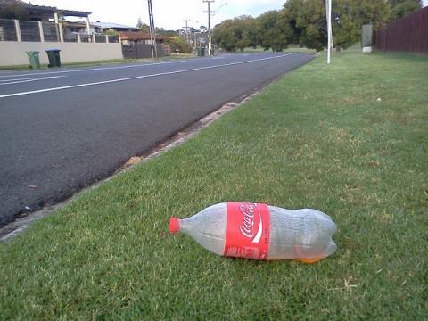 Plastic bottle on grass
